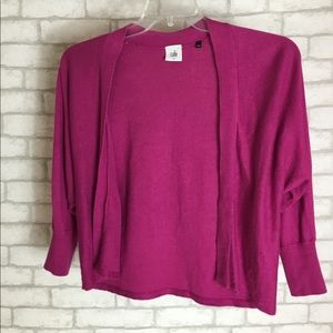 CABI Pink 3/4 Sleeve Crop Sweater Open Cardigan Sm